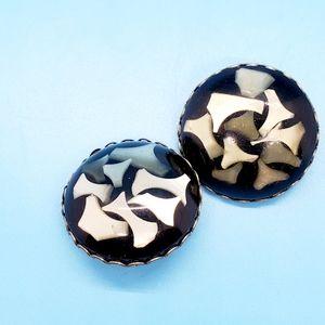 💎VINTAGE •MOP confetti earrings•clip on•wow🤩💎